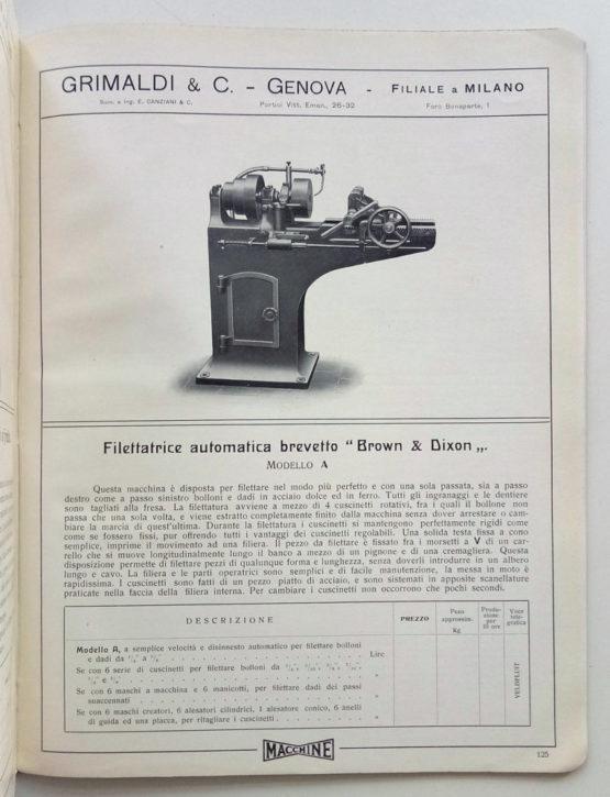 Grimaldi Macchine utensili per metalli 1908